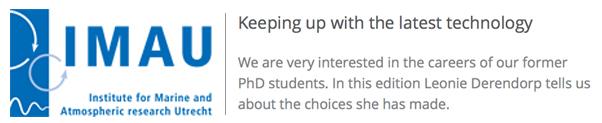 Leonie in de IMAU nieuwsbrief over de overstap van klimaatonderzoeker naar webdeveloper