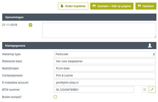Beheeromgeving voor webshop Horren.com