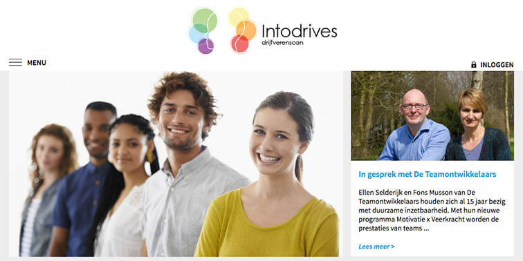 De homepage van de website van Intodrives