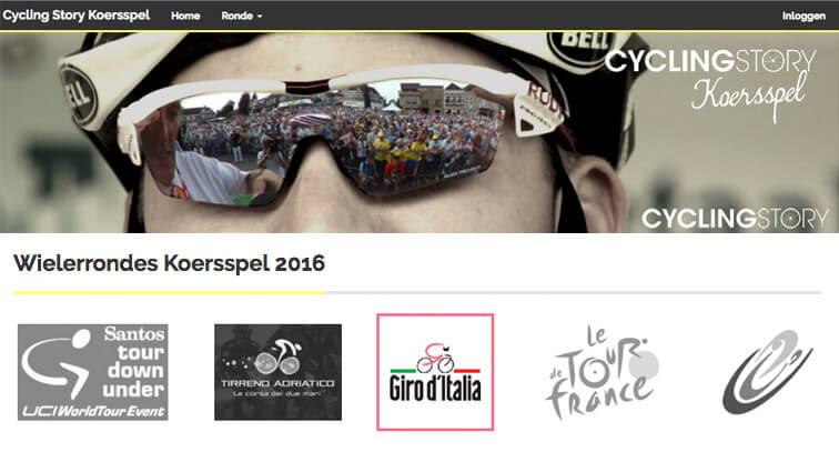 Homepage van het Cycling Story Koersspel