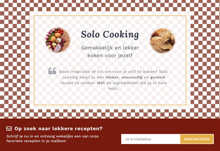 Homepage van de website Solo Cooking