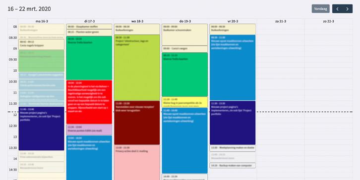 Planningsdeel van het administratiepanel